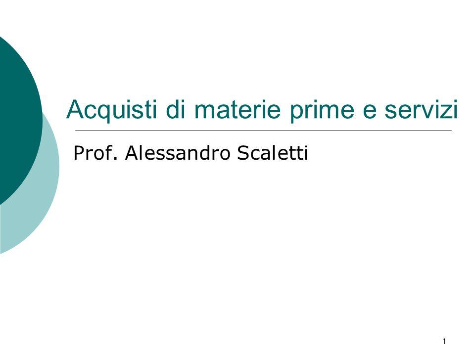 Acquisti di materie prime e servizi Prof. Alessandro Scaletti 1