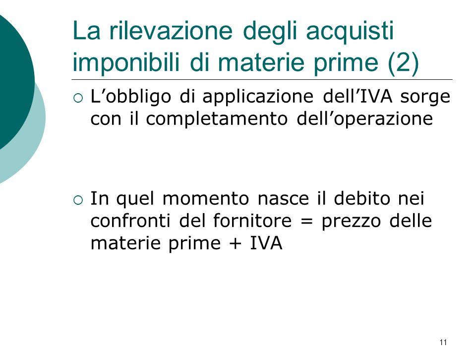 La rilevazione degli acquisti imponibili di materie prime (2)  L'obbligo di applicazione dell'IVA sorge con il completamento dell'operazione  In que