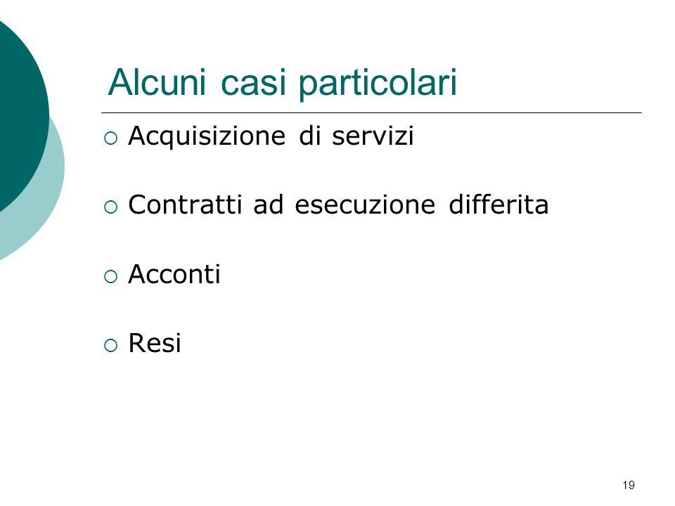 Alcuni casi particolari  Acquisizione di servizi  Contratti ad esecuzione differita  Acconti  Resi 19
