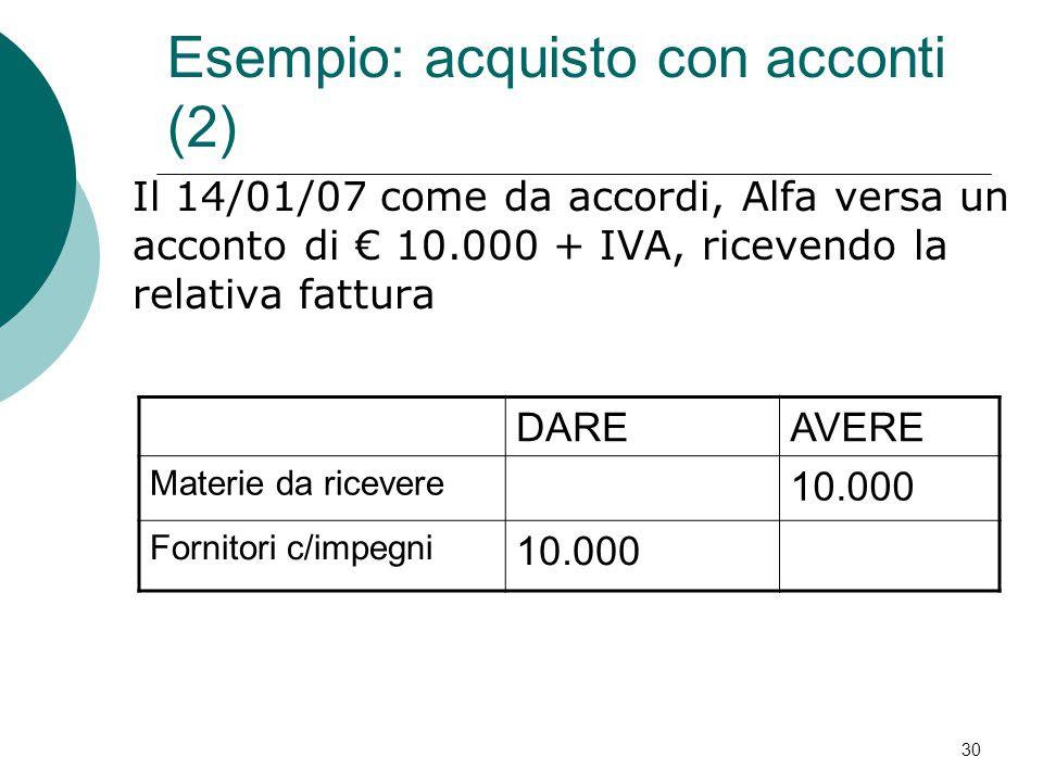 Il 14/01/07 come da accordi, Alfa versa un acconto di € 10.000 + IVA, ricevendo la relativa fattura DAREAVERE Materie da ricevere 10.000 Fornitori c/i