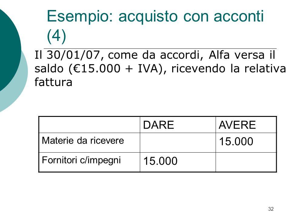 Il 30/01/07, come da accordi, Alfa versa il saldo (€15.000 + IVA), ricevendo la relativa fattura DAREAVERE Materie da ricevere 15.000 Fornitori c/impe