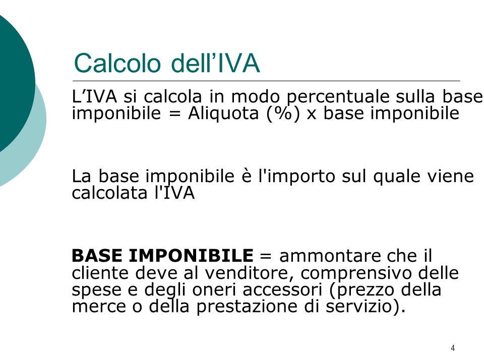 Calcolo dell'IVA: Esempio IVAImponibileImpostaPrezzo finale 4%26,00 €1,04 €27,4 € 20%20,00 €4,00 €24,00 € 5 DescrizioneQ.tàPrezzoIVA Arance50kg0,52 €4% Videocassette10pz2,00 €20%
