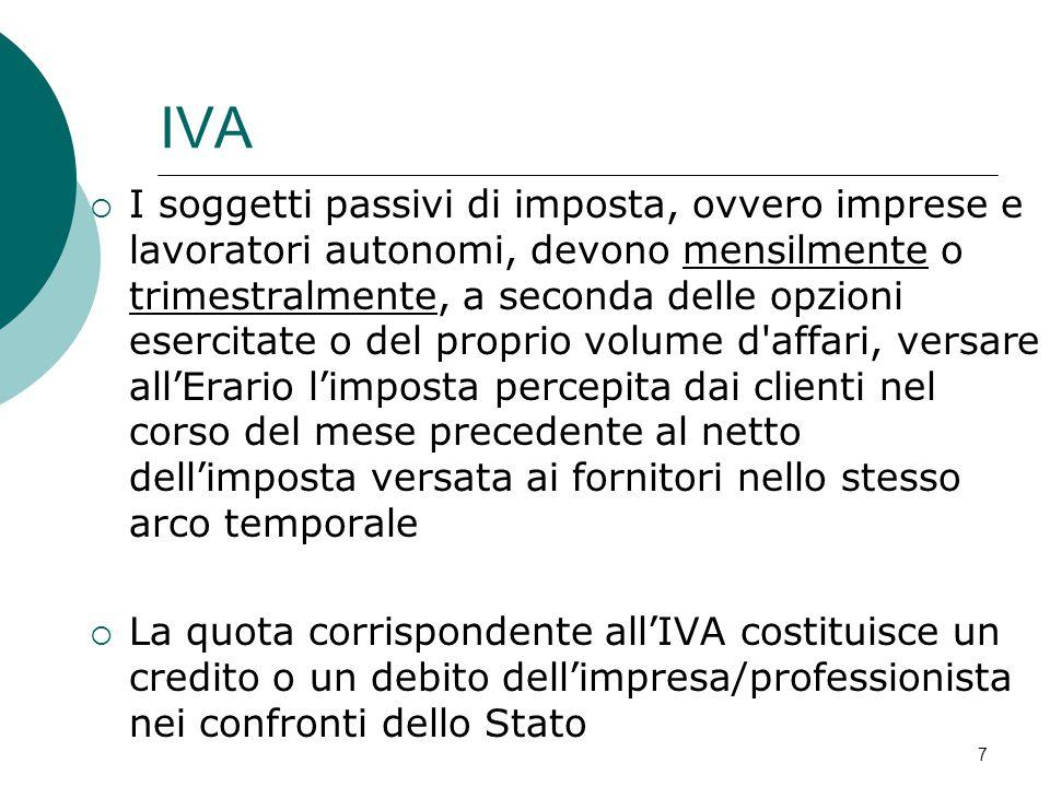 IVA  I soggetti passivi di imposta, ovvero imprese e lavoratori autonomi, devono mensilmente o trimestralmente, a seconda delle opzioni esercitate o