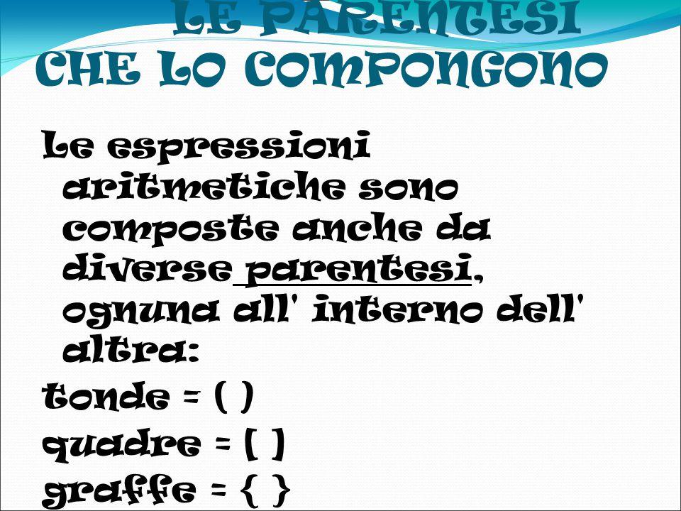 LE PARENTESI CHE LO COMPONGONO Le espressioni aritmetiche sono composte anche da diverse parentesi, ognuna all interno dell altra: tonde = ( ) quadre = [ ] graffe = { }