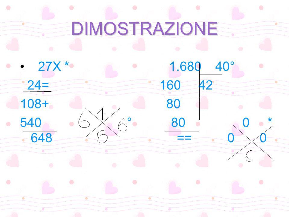 DIMOSTRAZIONE 27X * 1.680 40° 24= 160 42 108+ 80 540 ° 80 0 * 648 == 0 0
