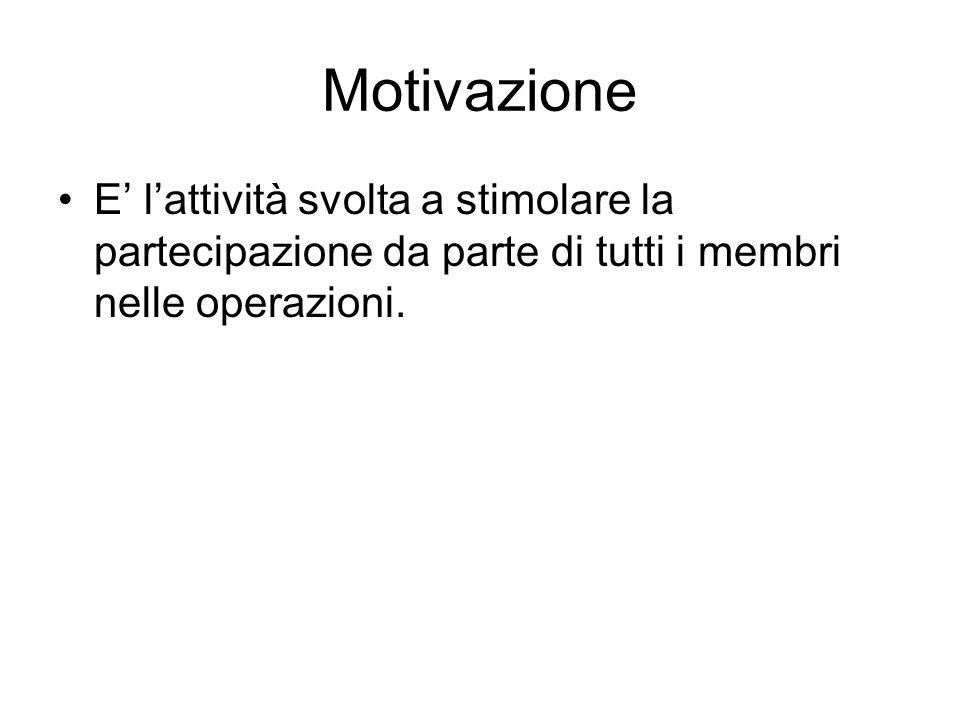 Motivazione E' l'attività svolta a stimolare la partecipazione da parte di tutti i membri nelle operazioni.