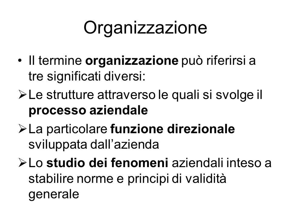 Organizzazione Il termine organizzazione può riferirsi a tre significati diversi:  Le strutture attraverso le quali si svolge il processo aziendale  La particolare funzione direzionale sviluppata dall'azienda  Lo studio dei fenomeni aziendali inteso a stabilire norme e principi di validità generale