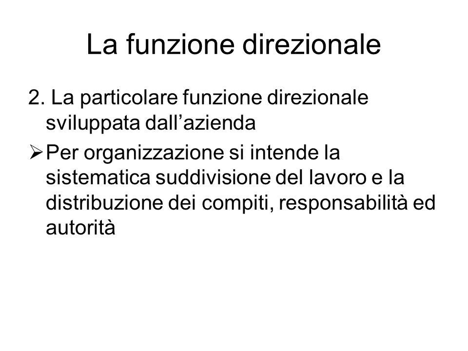 La funzione direzionale 2. La particolare funzione direzionale sviluppata dall'azienda  Per organizzazione si intende la sistematica suddivisione del