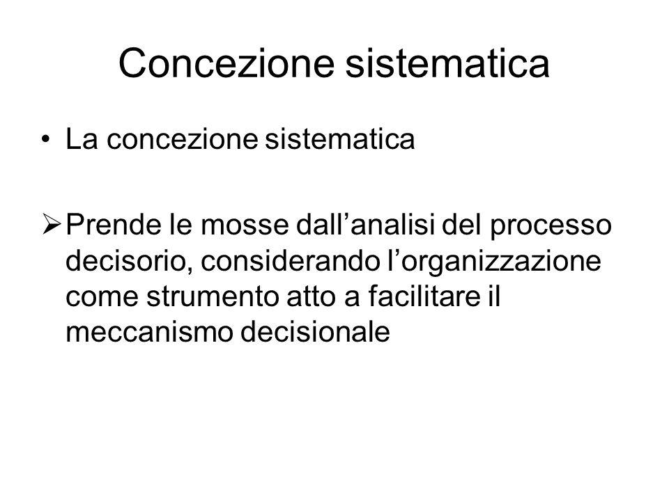 Concezione sistematica La concezione sistematica  Prende le mosse dall'analisi del processo decisorio, considerando l'organizzazione come strumento atto a facilitare il meccanismo decisionale
