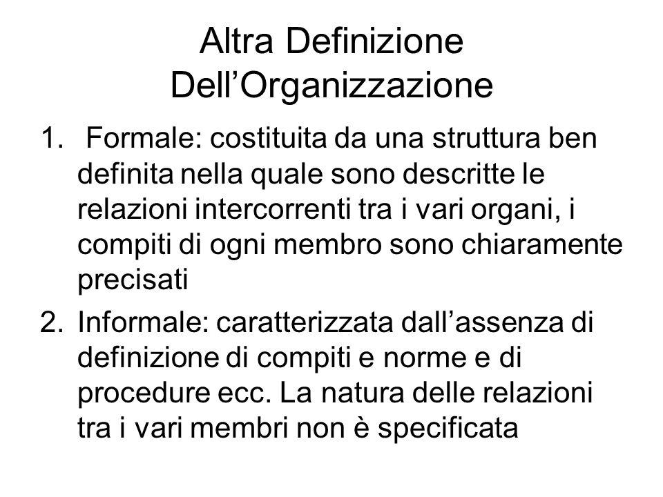Altra Definizione Dell'Organizzazione 1. Formale: costituita da una struttura ben definita nella quale sono descritte le relazioni intercorrenti tra i