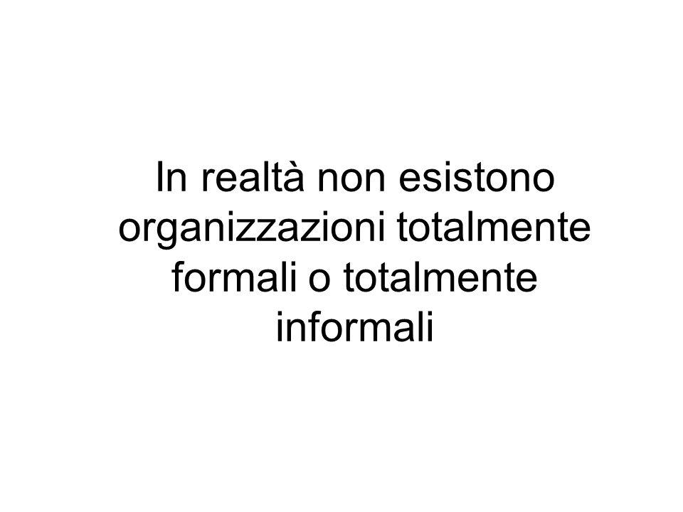 In realtà non esistono organizzazioni totalmente formali o totalmente informali