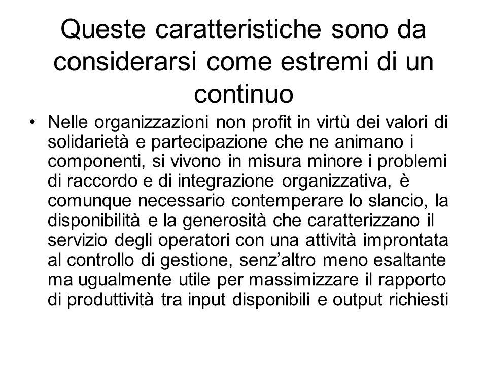 Queste caratteristiche sono da considerarsi come estremi di un continuo Nelle organizzazioni non profit in virtù dei valori di solidarietà e partecipa