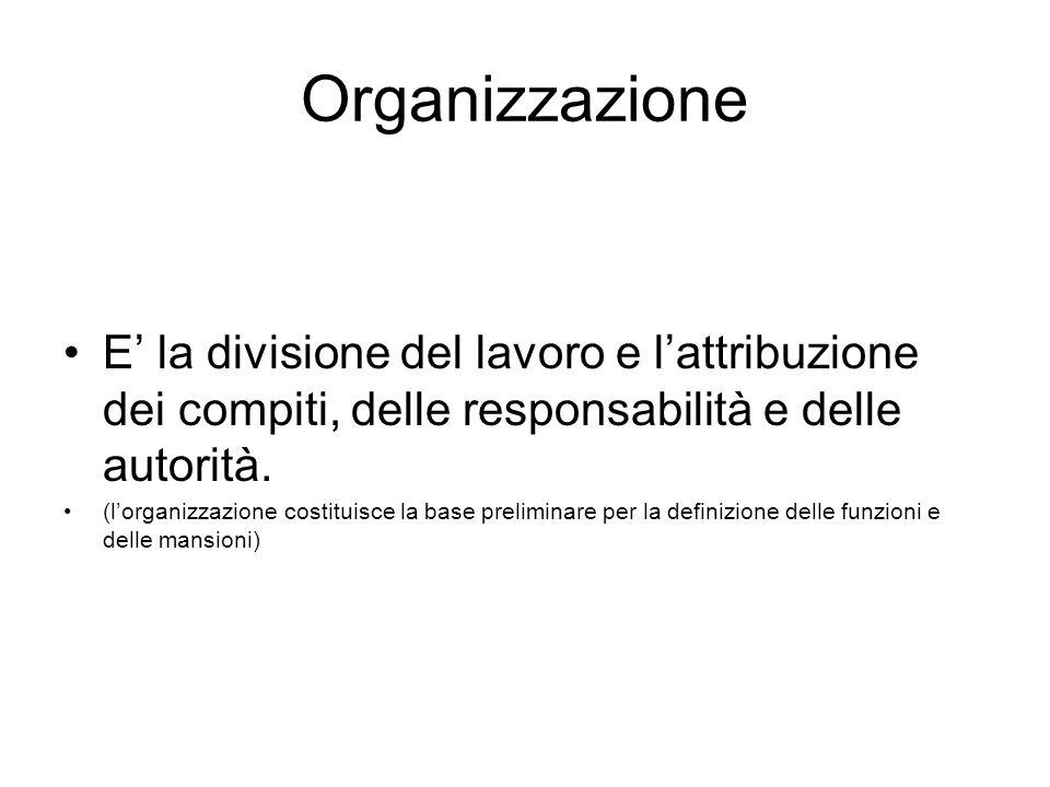 Organizzazione E' la divisione del lavoro e l'attribuzione dei compiti, delle responsabilità e delle autorità. (l'organizzazione costituisce la base p