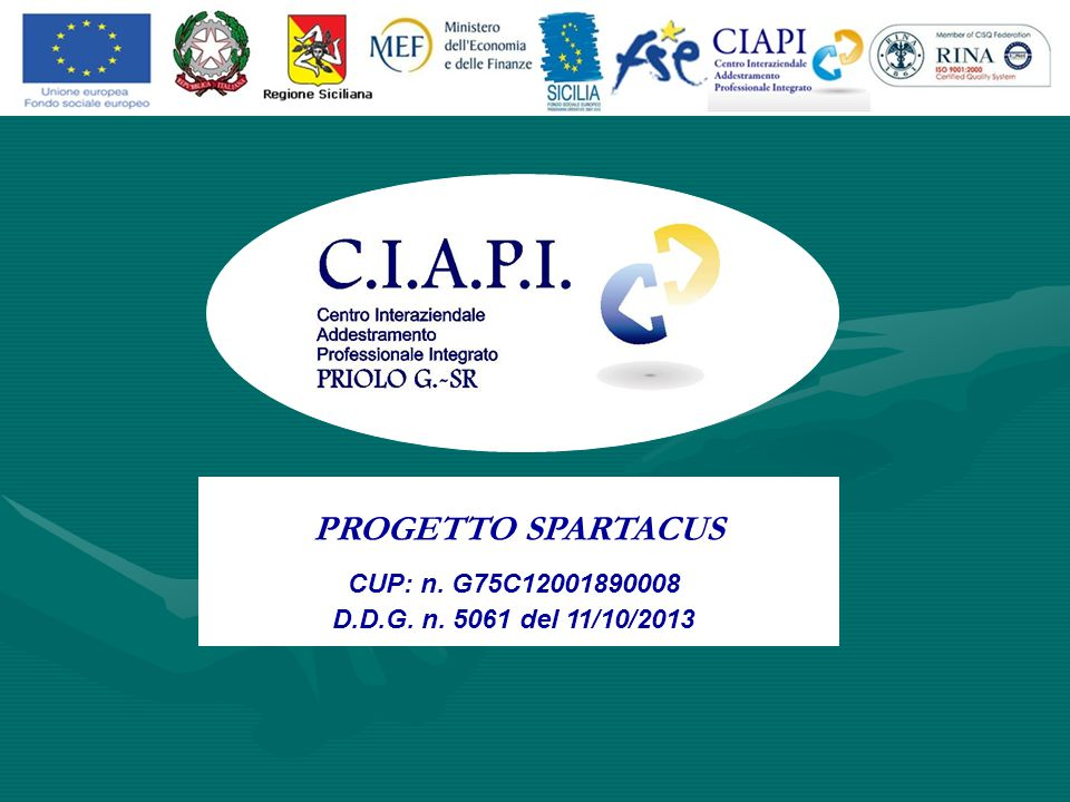PROGETTO SPARTACUS CUP: n. G75C12001890008 D.D.G. n. 5061 del 11/10/2013