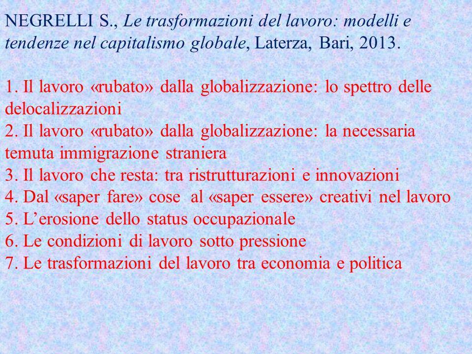 NEGRELLI S., Le trasformazioni del lavoro: modelli e tendenze nel capitalismo globale, Laterza, Bari, 2013. 1. Il lavoro «rubato» dalla globalizzazion