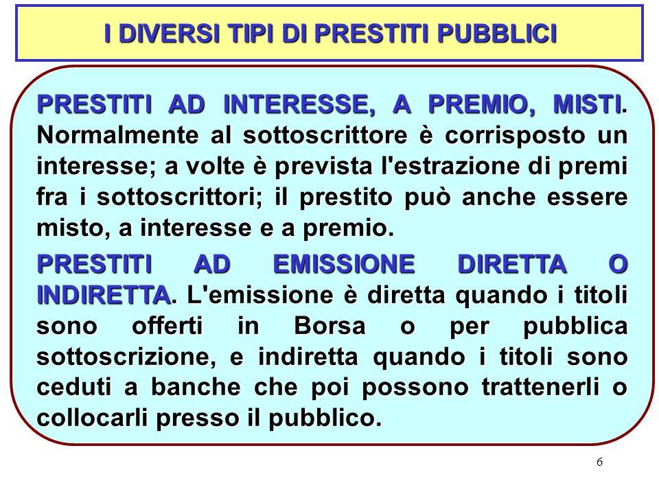 6 I DIVERSI TIPI DI PRESTITI PUBBLICI PRESTITI AD INTERESSE, A PREMIO, MISTI.