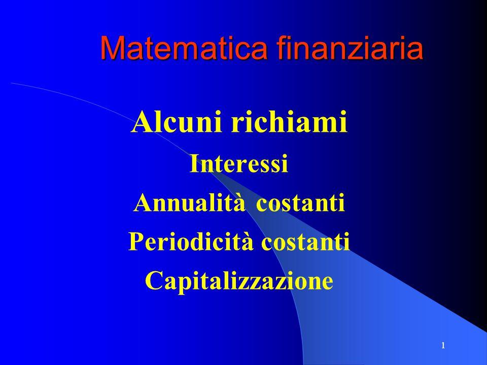 1 Matematica finanziaria Alcuni richiami Interessi Annualità costanti Periodicità costanti Capitalizzazione