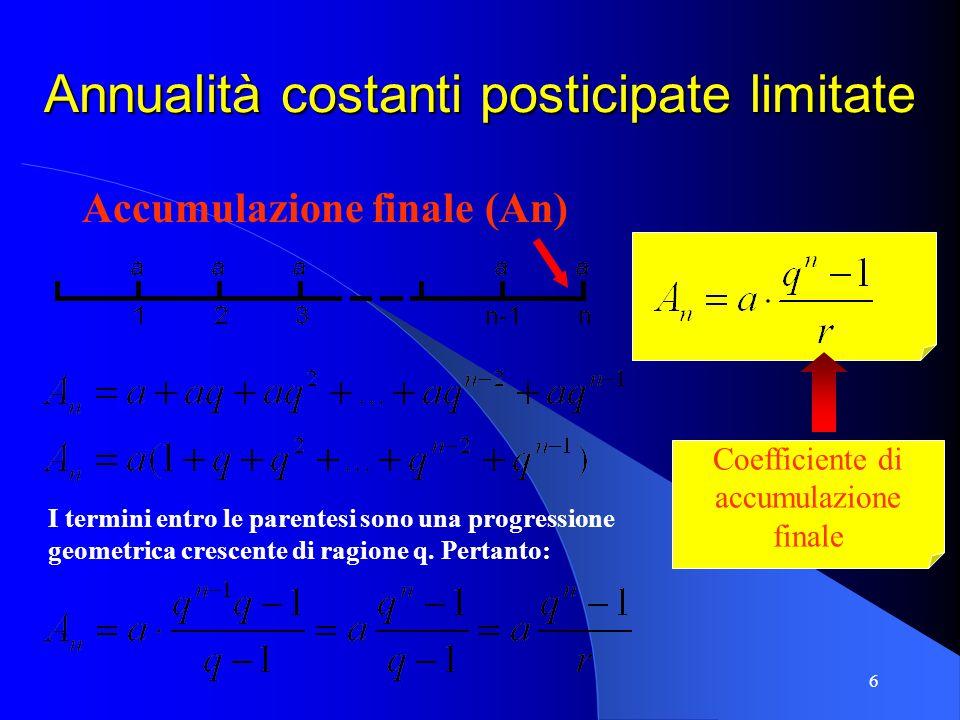 6 Annualità costanti posticipate limitate Accumulazione finale (An) I termini entro le parentesi sono una progressione geometrica crescente di ragione