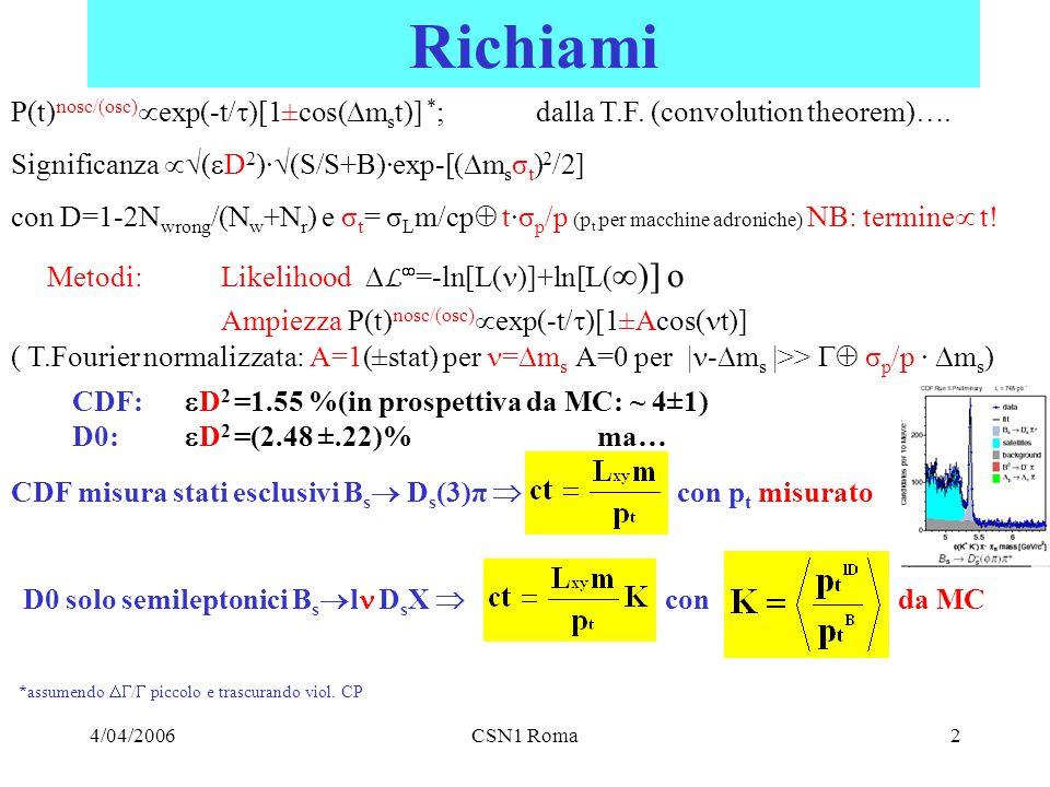 4/04/2006CSN1 Roma2 Richiami P(t) nosc/(osc)  exp(-t/  )[1±cos(  m s t)] * ; dalla T.F.