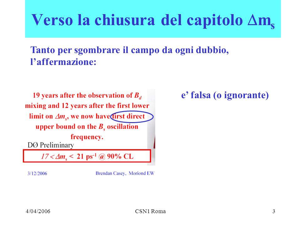 4/04/2006CSN1 Roma3 Verso la chiusura del capitolo  m s Tanto per sgombrare il campo da ogni dubbio, l'affermazione: e' falsa (o ignorante)