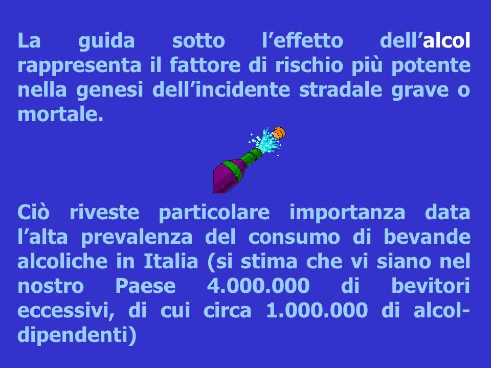 Ciò riveste particolare importanza data l'alta prevalenza del consumo di bevande alcoliche in Italia (si stima che vi siano nel nostro Paese 4.000.000 di bevitori eccessivi, di cui circa 1.000.000 di alcol- dipendenti)