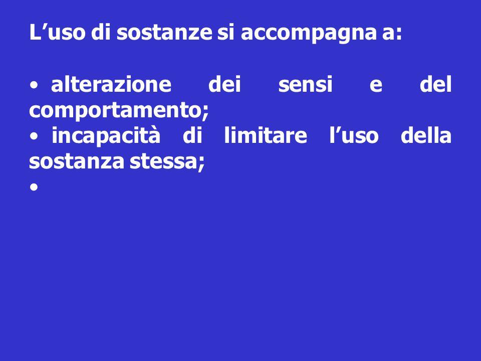 L'uso di sostanze si accompagna a: alterazione dei sensi e del comportamento; incapacità di limitare l'uso della sostanza stessa;