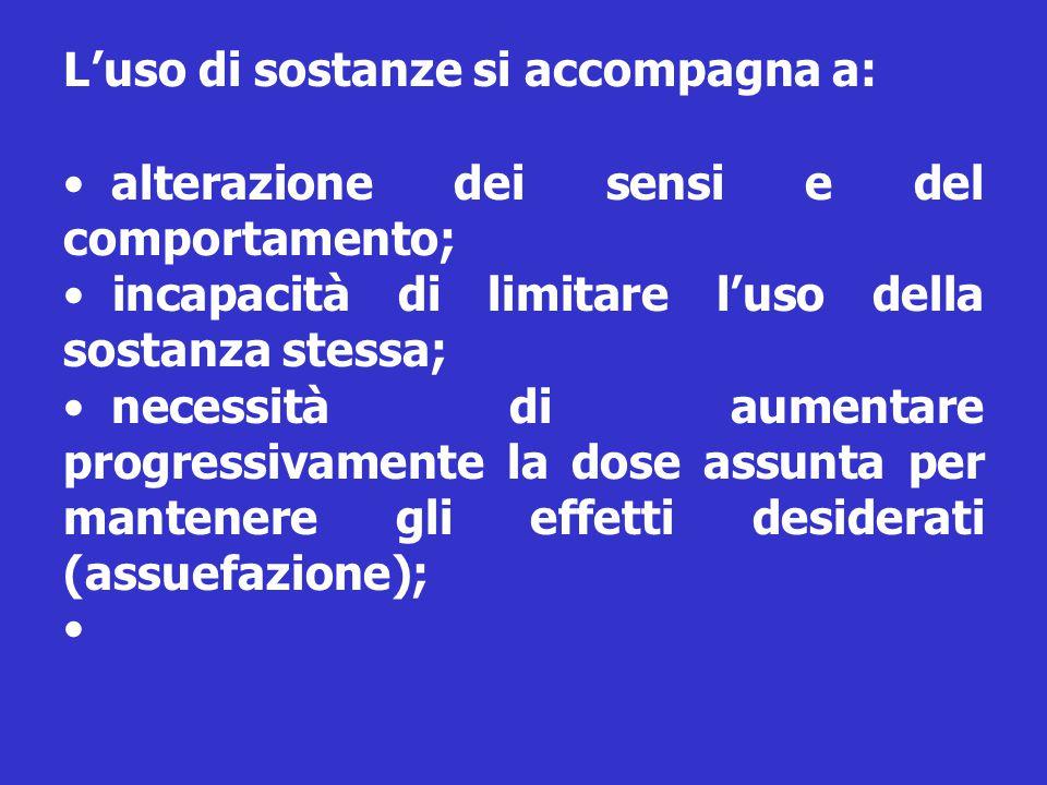 L'uso di sostanze si accompagna a: alterazione dei sensi e del comportamento; incapacità di limitare l'uso della sostanza stessa; necessità di aumenta