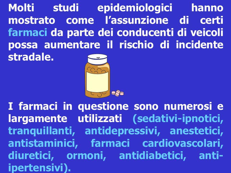 I farmaci in questione sono numerosi e largamente utilizzati (sedativi-ipnotici, tranquillanti, antidepressivi, anestetici, antistaminici, farmaci cardiovascolari, diuretici, ormoni, antidiabetici, anti- ipertensivi).