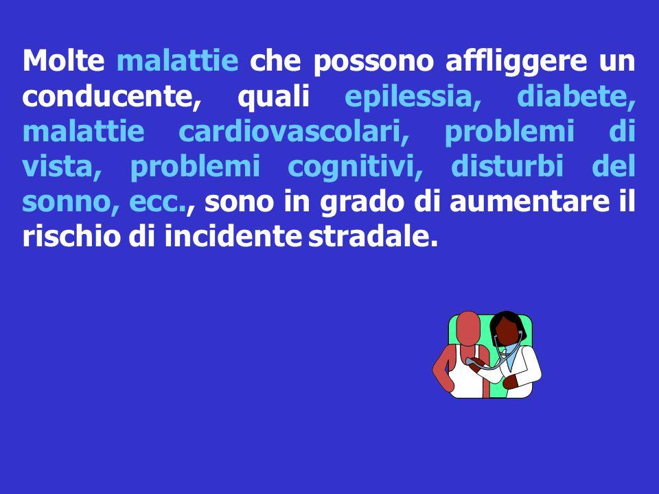 Molte malattie che possono affliggere un conducente, quali epilessia, diabete, malattie cardiovascolari, problemi di vista, problemi cognitivi, disturbi del sonno, ecc., sono in grado di aumentare il rischio di incidente stradale.