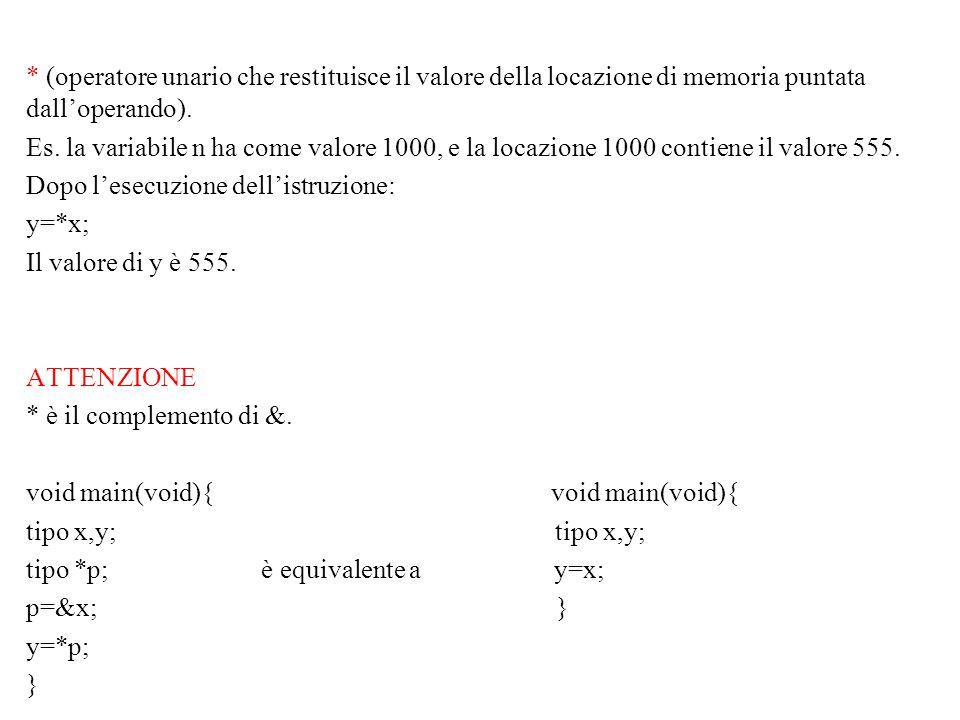 I puntatori possono essere confrontati tra di loro; Allocazione dinamica della memoria: malloc ()alloca porzioni contigue di memoria void *malloc(numero di byte) (°) e restituisce l'indirizzo della locazione iniziale free() libera porzioni di memoria void free(void *p) (°) tipo *funzione(argomenti) Definisce una funzione che restituisce come output un puntatore al tipo dato.