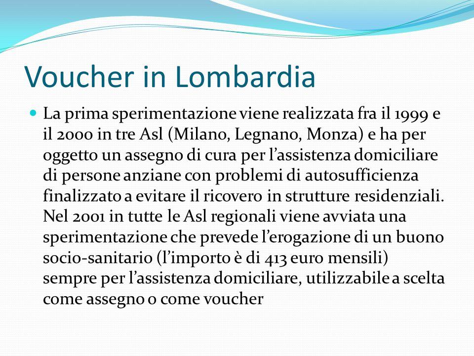 Voucher in Lombardia La prima sperimentazione viene realizzata fra il 1999 e il 2000 in tre Asl (Milano, Legnano, Monza) e ha per oggetto un assegno di cura per l'assistenza domiciliare di persone anziane con problemi di autosufficienza finalizzato a evitare il ricovero in strutture residenziali.