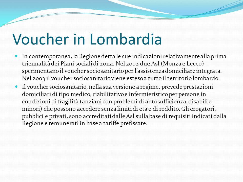 Voucher in Lombardia In contemporanea, la Regione detta le sue indicazioni relativamente alla prima triennalità dei Piani sociali di zona.