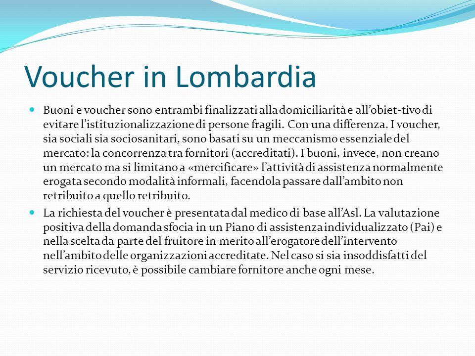 Voucher in Lombardia Buoni e voucher sono entrambi finalizzati alla domiciliarità e all'obiet-tivo di evitare l'istituzionalizzazione di persone fragili.