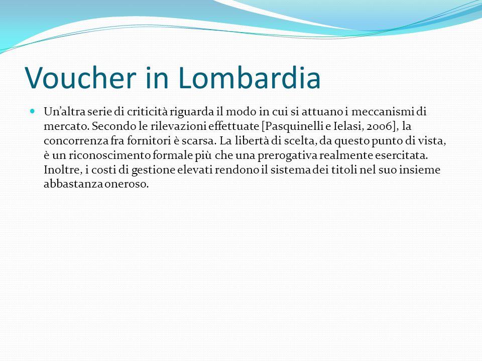 Voucher in Lombardia Un'altra serie di criticità riguarda il modo in cui si attuano i meccanismi di mercato.