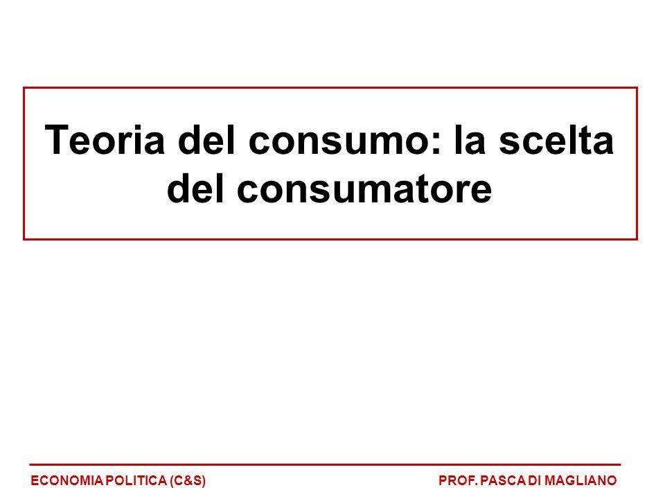 Teoria del consumo: la scelta del consumatore ECONOMIA POLITICA (C&S)PROF. PASCA DI MAGLIANO