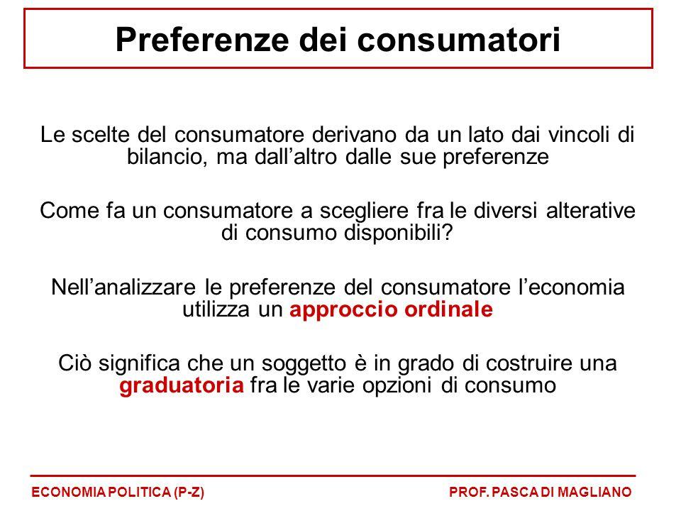 Preferenze dei consumatori Le scelte del consumatore derivano da un lato dai vincoli di bilancio, ma dall'altro dalle sue preferenze Come fa un consum
