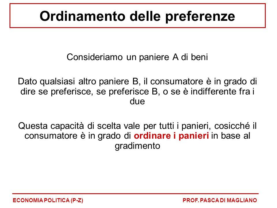 Ordinamento delle preferenze Consideriamo un paniere A di beni Dato qualsiasi altro paniere B, il consumatore è in grado di dire se preferisce, se pre