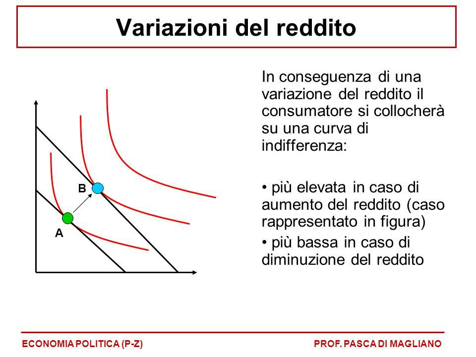Variazioni del reddito In conseguenza di una variazione del reddito il consumatore si collocherà su una curva di indifferenza: più elevata in caso di