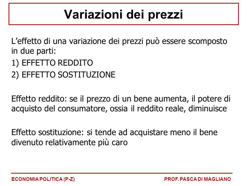 Variazioni dei prezzi L'effetto di una variazione dei prezzi può essere scomposto in due parti: 1) EFFETTO REDDITO 2) EFFETTO SOSTITUZIONE Effetto red