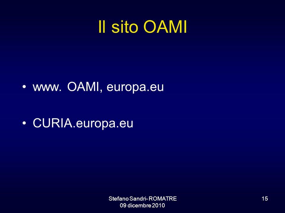 Stefano Sandri- ROMATRE 09 dicembre 2010 15 Il sito OAMI www. OAMI, europa.eu CURIA.europa.eu