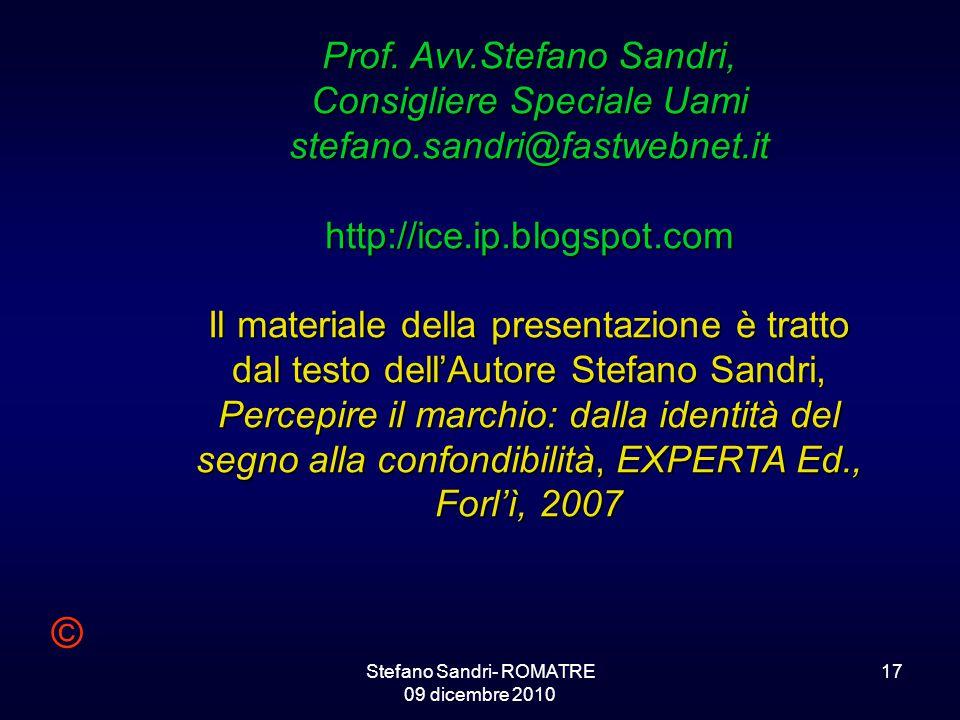 Stefano Sandri- ROMATRE 09 dicembre 2010 17 Prof.