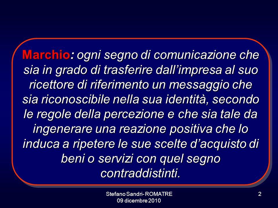 Stefano Sandri- ROMATRE 09 dicembre 2010 2 Marchio: ogni segno di comunicazione che sia in grado di trasferire dall'impresa al suo ricettore di riferi