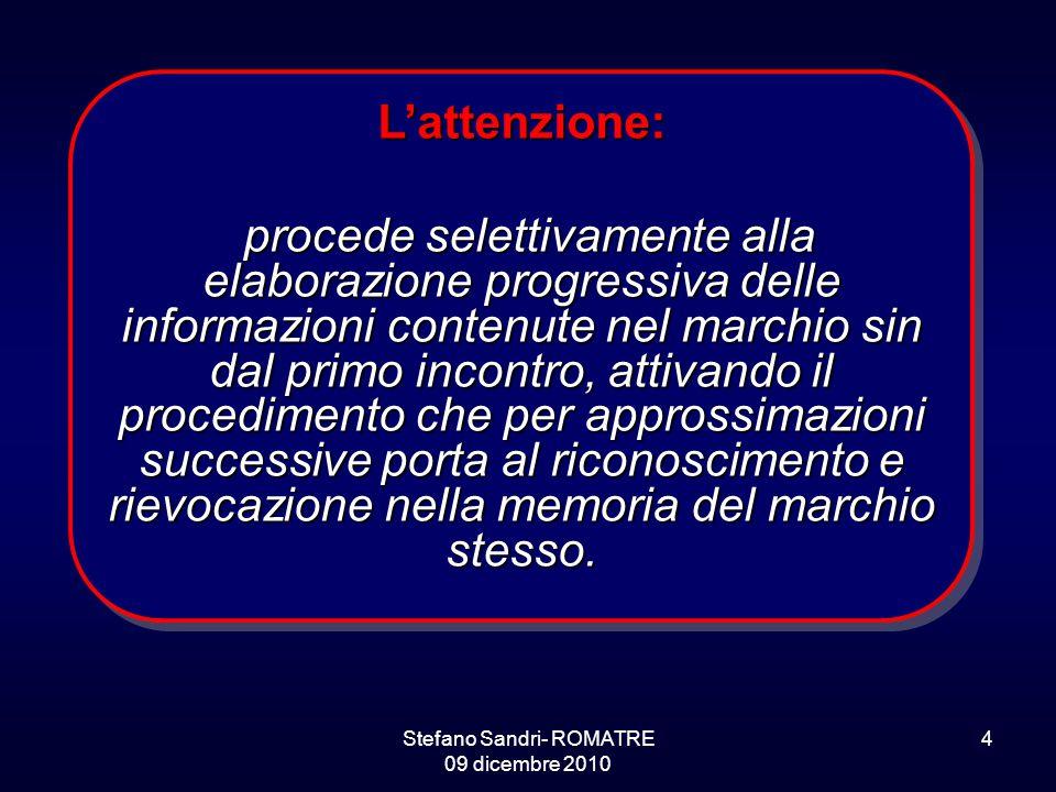 Stefano Sandri- ROMATRE 09 dicembre 2010 4 L'attenzione: procede selettivamente alla elaborazione progressiva delle informazioni contenute nel marchio