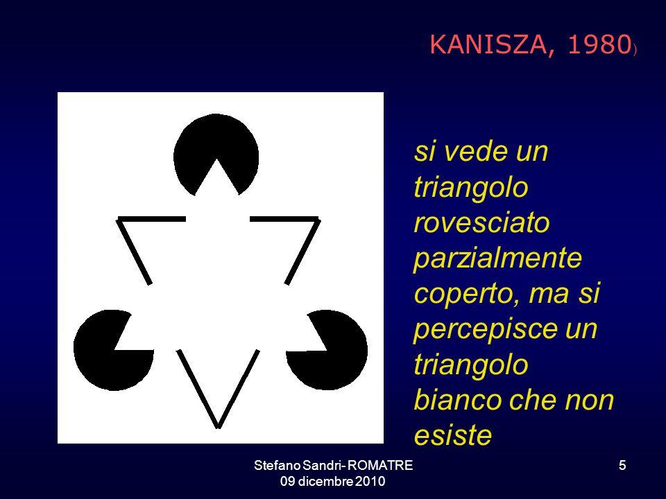 Stefano Sandri- ROMATRE 09 dicembre 2010 5 si vede un triangolo rovesciato parzialmente coperto, ma si percepisce un triangolo bianco che non esiste KANISZA, 1980 )