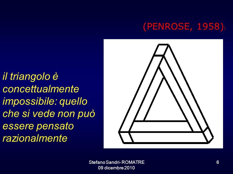 Stefano Sandri- ROMATRE 09 dicembre 2010 6 il triangolo è concettualmente impossibile: quello che si vede non può essere pensato razionalmente (PENROSE, 1958) )