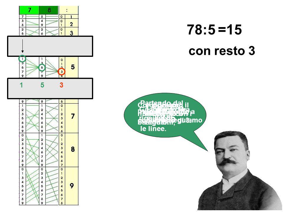 Calcoliamo 78:5 Componiamo il numero 78 con i bastoncini, 78:5 e a destra mettiamo il regolo. Guardiamo la riga del 5. Partendo dal numero in alto a s