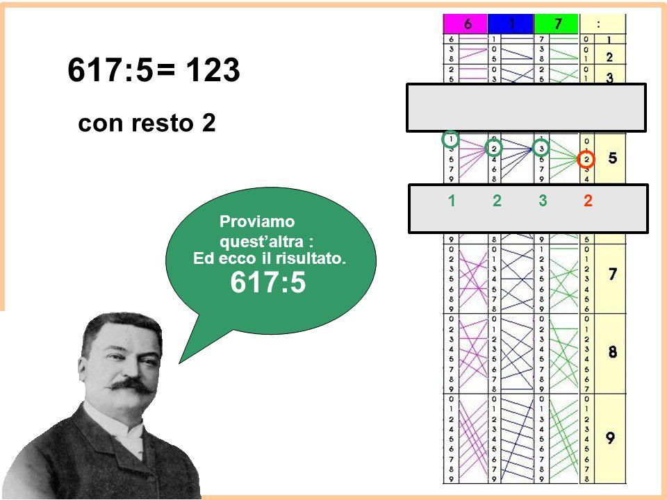 Proviamo quest'altra : 617:5 Ed ecco il risultato. = 123 1232 con resto 2