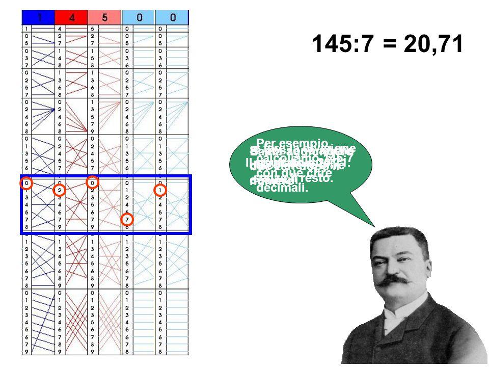 Si possono anche calcolare le cifre decimali. Per esempio, calcoliamo 145:7 con due cifre decimali. Basta aggiungere due zeri dopo il numero 145:7 e f