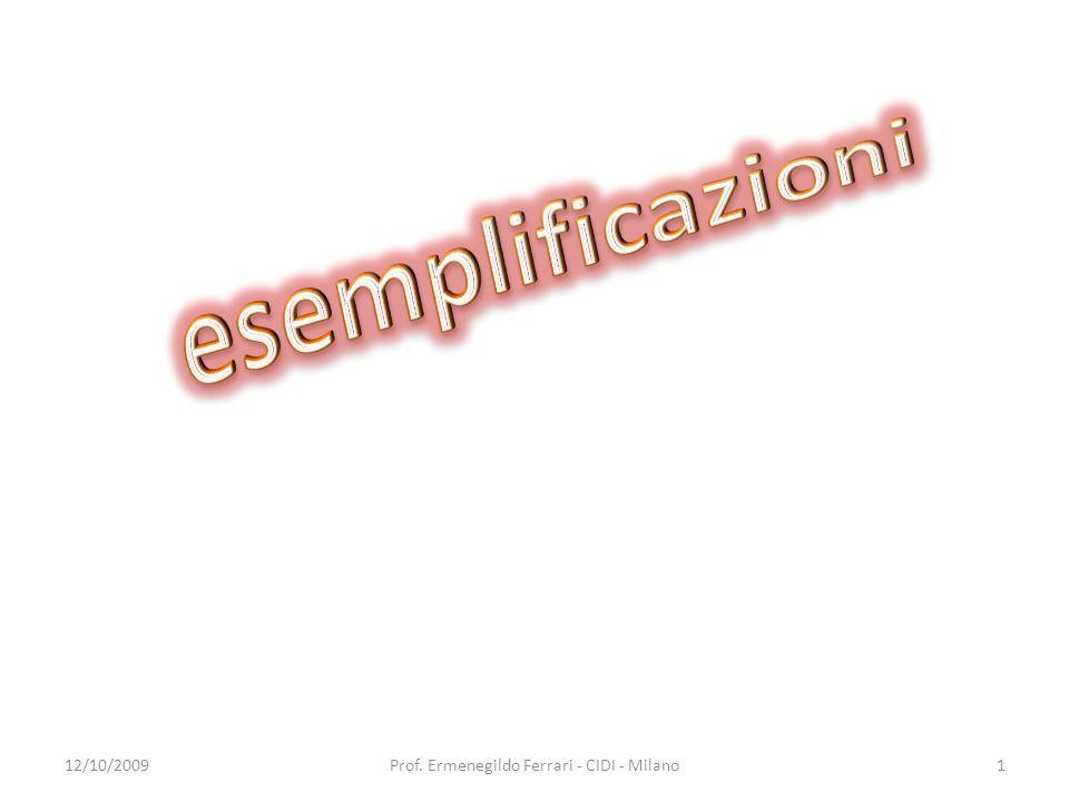 Esemplificazione 1 Asse storico-sociale 12/10/20092Prof. Ermenegildo Ferrari - CIDI - Milano