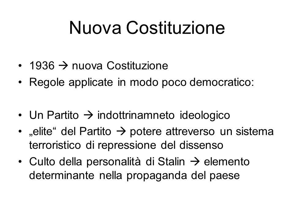 """Nuova Costituzione 1936  nuova Costituzione Regole applicate in modo poco democratico: Un Partito  indottrinamneto ideologico """"elite"""" del Partito """
